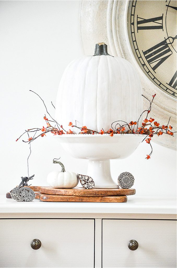 FALL ARRANGEMENT WITH A WHITE PUMPKIN AND BITTERSWEET