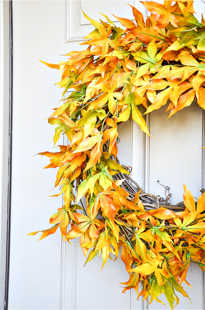 close up of fall leaf wreath