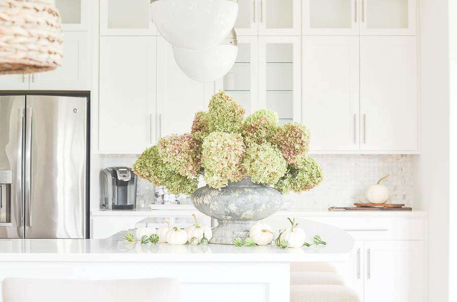 A BIG URN FILLED WITH HYDRANGEAS
