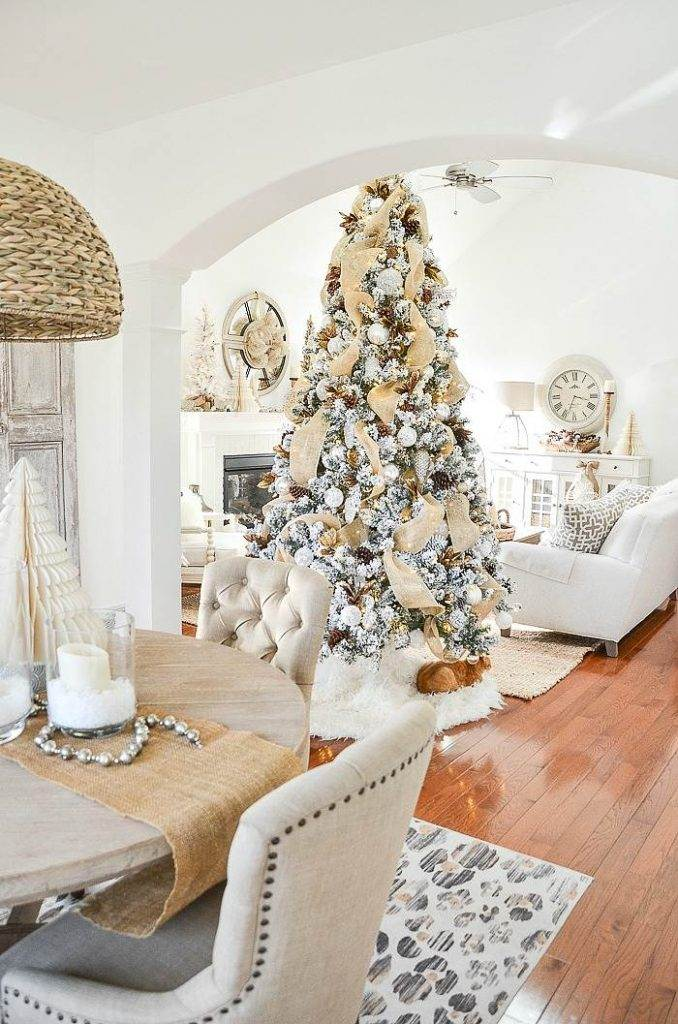A GREAT ROOM DECORATED FOR CHRISTMAS