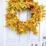 LEAF WREATH ON FRONT DOOR