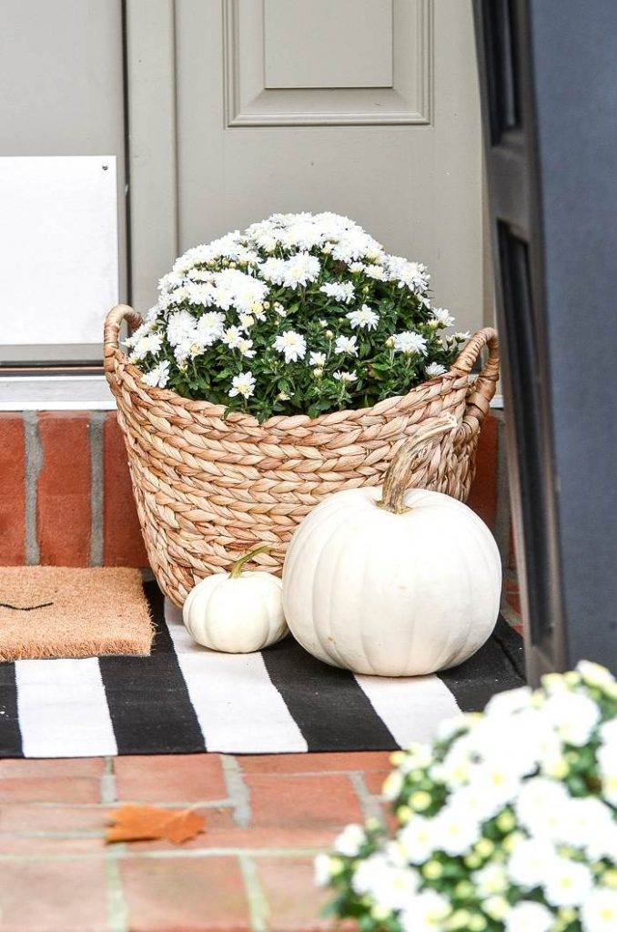 A BASKET OF MUMS AND WHITE PUMPKINS ON A FRONT PORCH