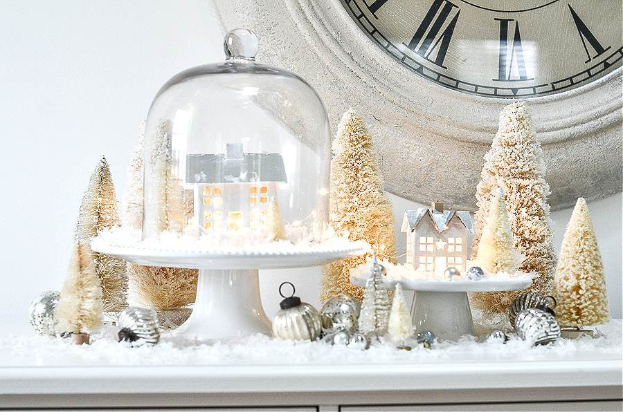 CHRISTMAS VILLAGE ON A WHITE BUFFET