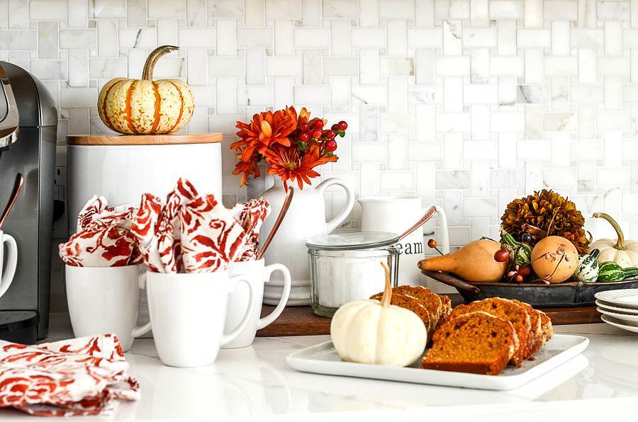 FALL COFFEE BAR ON A KITCHEN COUNTER