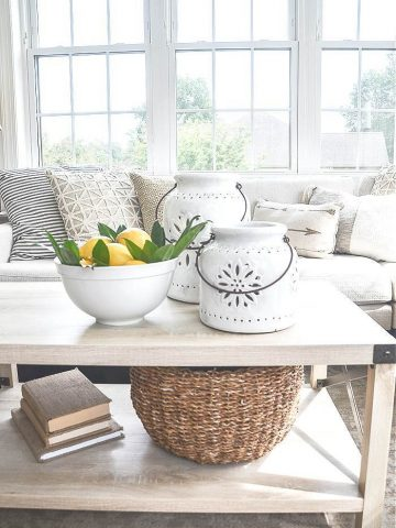 A LIGHT COLORED COFFEE TABLE IN A SUNROOM