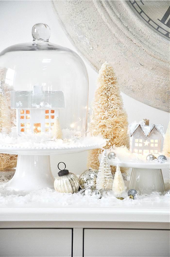 Snowy White Christmas Village Display Stonegable