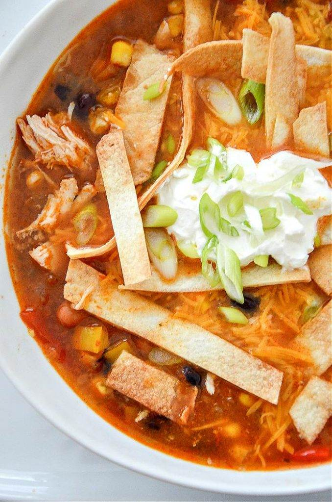 BOWL OF CHICKEN TACO SOUP