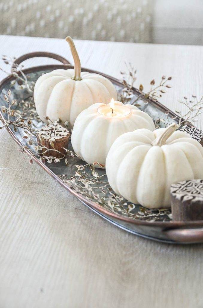 TRIO OF WHITE PUMPKINS