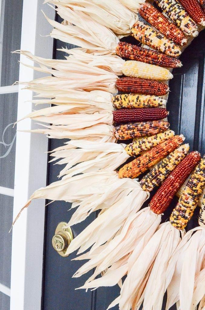 big Indian corn wreath on a front door