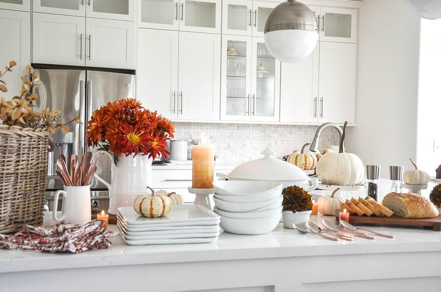 FALL SOUP BAR ON A KITCHEN ISLAND