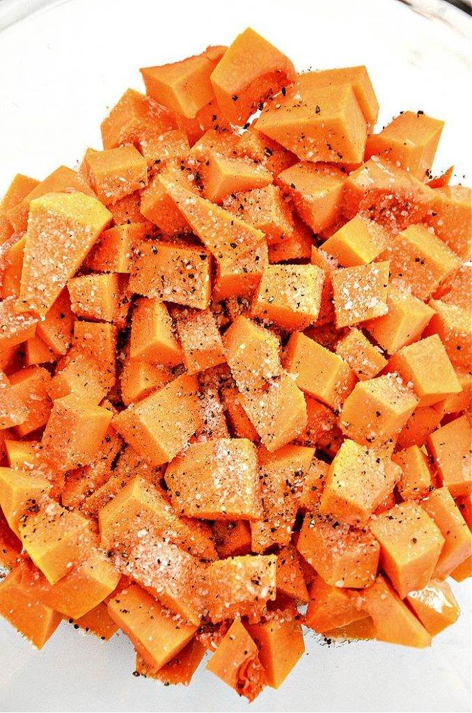 BOWL OF CUBED BUTTERNUT SQUASH