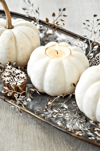 A TRIO OF WHITE PUMPKINS IN A GALVANIZED METAL TRAY