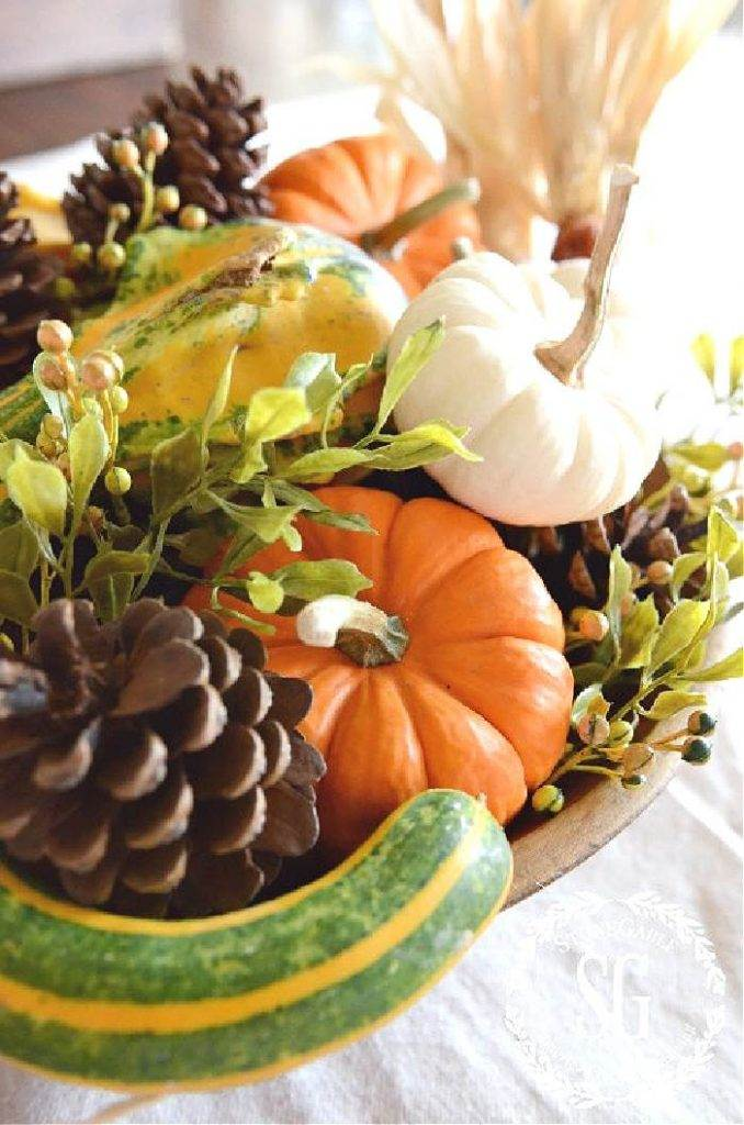 A FALL INSPIRED DOUGH BOWL ARRANGEMENT