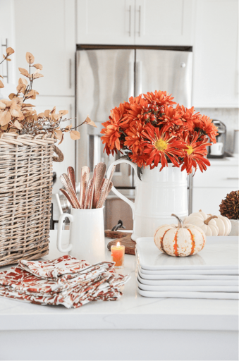 FALL SOUP BAR ON KITCHEN COUNTER