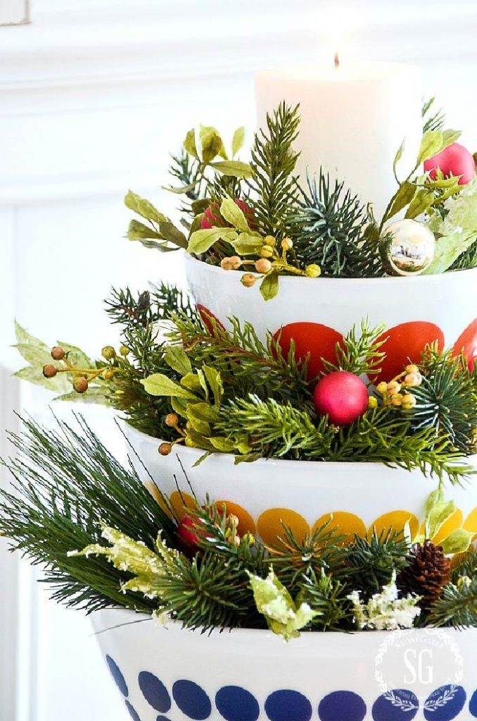 BOWLS FILLED WITH GREENS AND ORNAMENTS