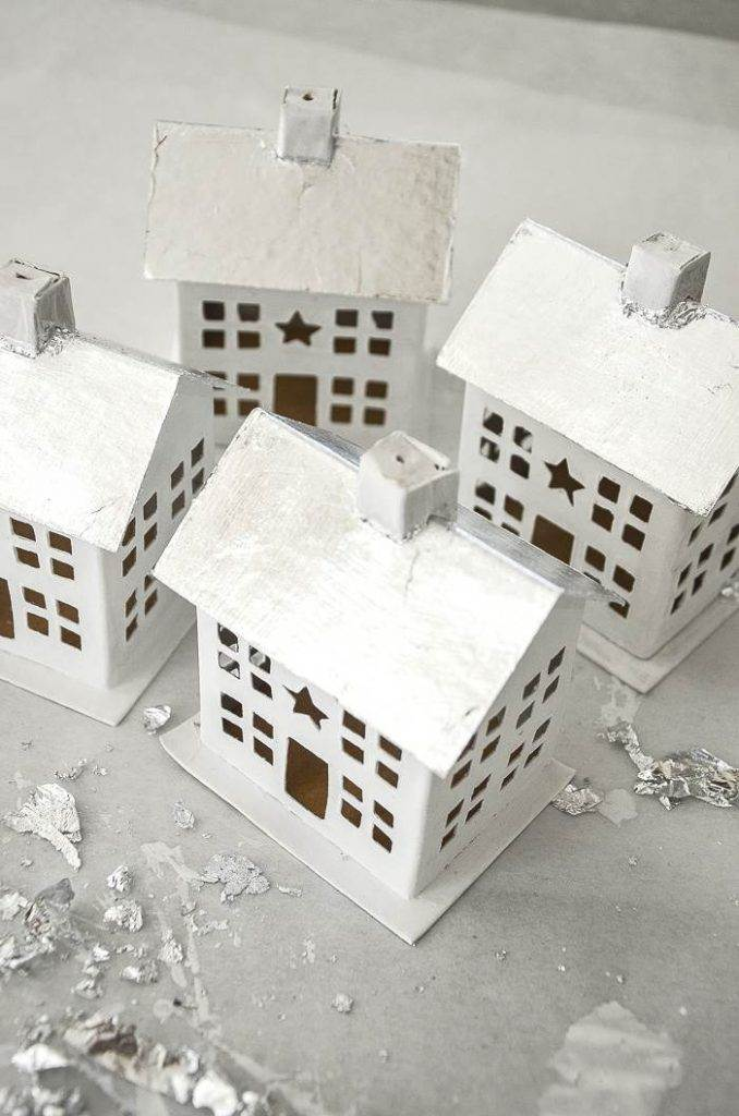 CHRISTMAS HOUSES WITH SILVER ROOFS