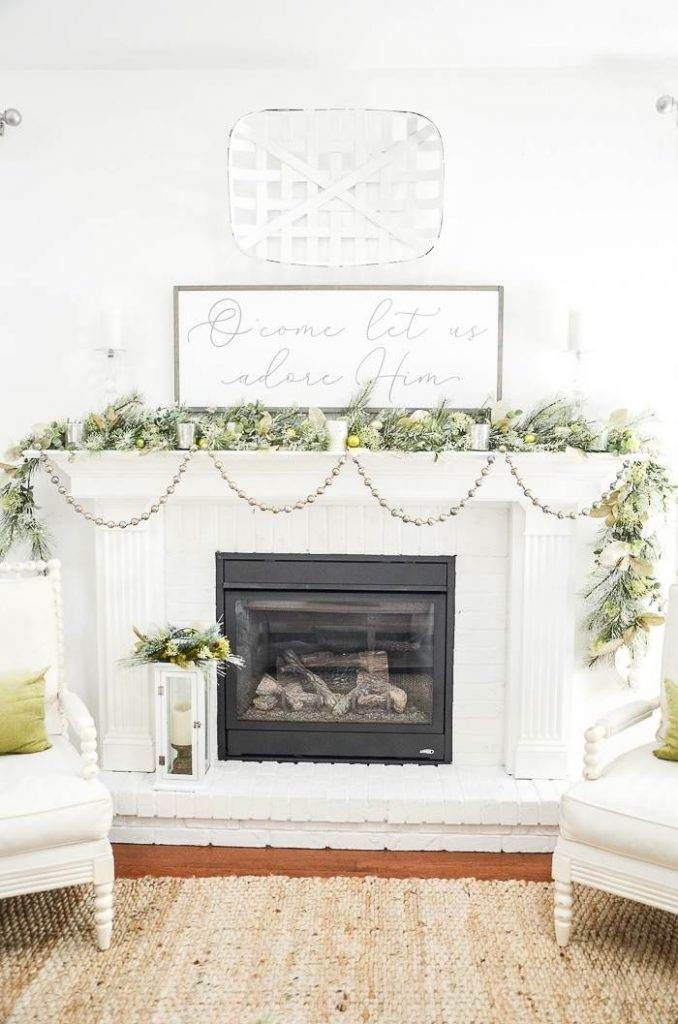 CHRISTMAS MANTEL WITH FAUX GREENS