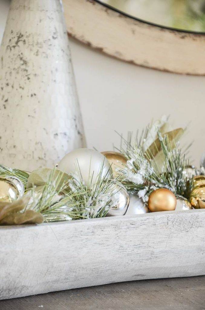 BOWL OF CHRISTMAS ORNAMENTS AND GREENS