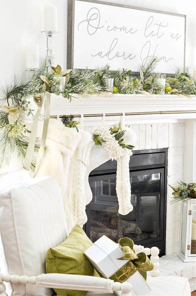 CHRISTMAS STOCKING HANGING ON A MANTEL