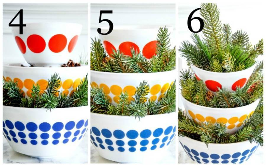 PICTURE COLLAGE OF INSRUCTIONS 4 TO 6 TO MAKE A CHRISTMAS ARRANGEMENT