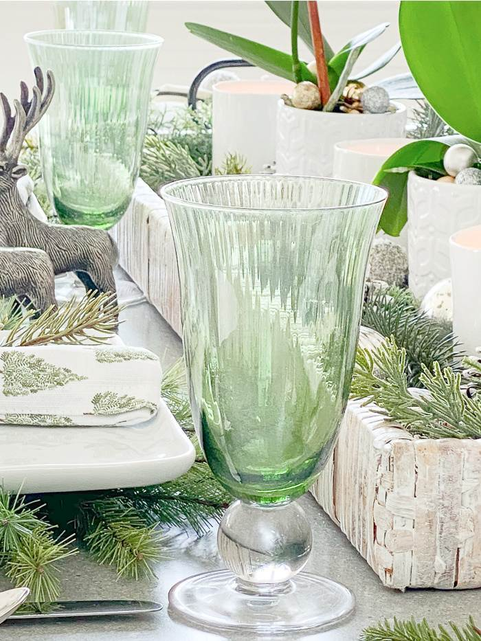 GREEN GOBLETS ON A CHRISTMAS TABLE