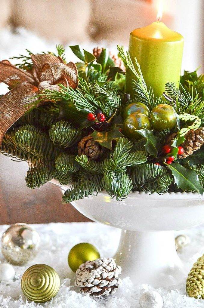 WREATH IN A PEDESTAL BOWL ON A KITCHEN TABLE