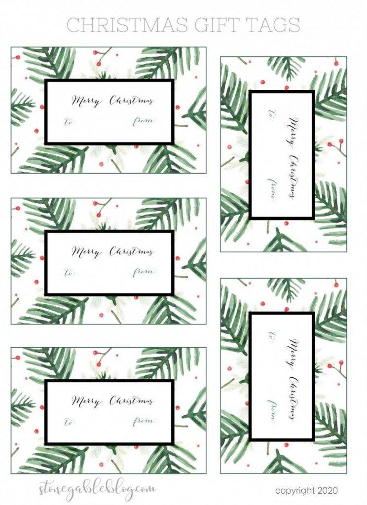 EVERGREENS AND BERRIES GIFT TAGS