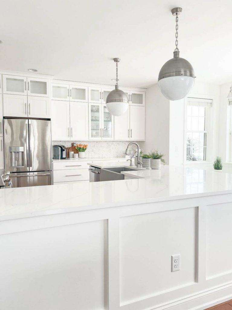 WHITE COUNTERS OF A NEW KITCHEN MAKEOVER