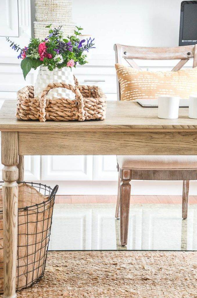 DESK WITH A BASKET AND FLOWERS