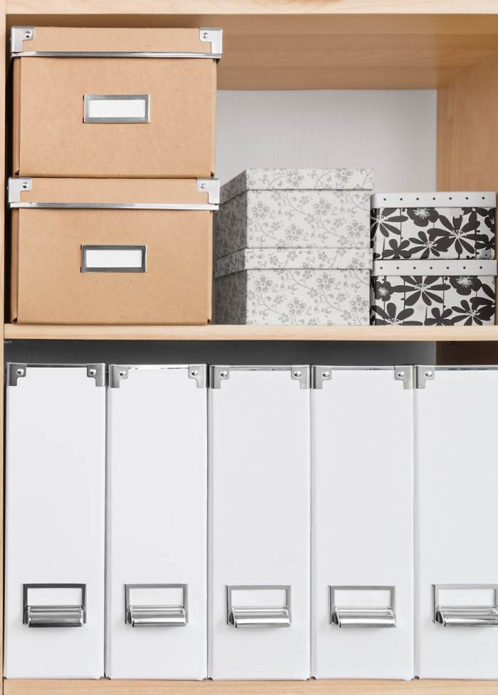 ORGANIZED BOXES AND MAGAZINE FILES