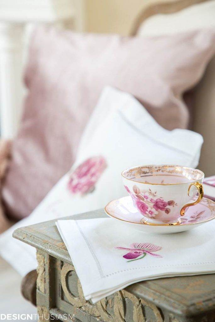 pretty pink and white cup and saucer