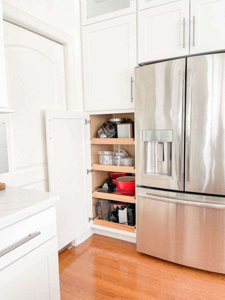 cabinet with small kitchen appliances