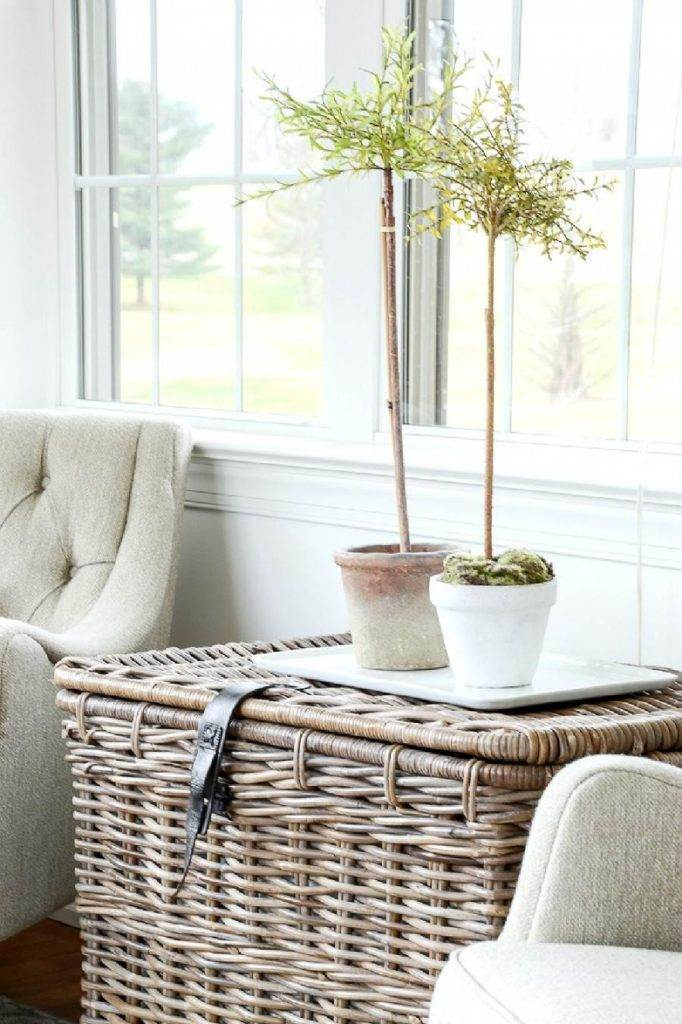 BASKET USED AS A TABLE