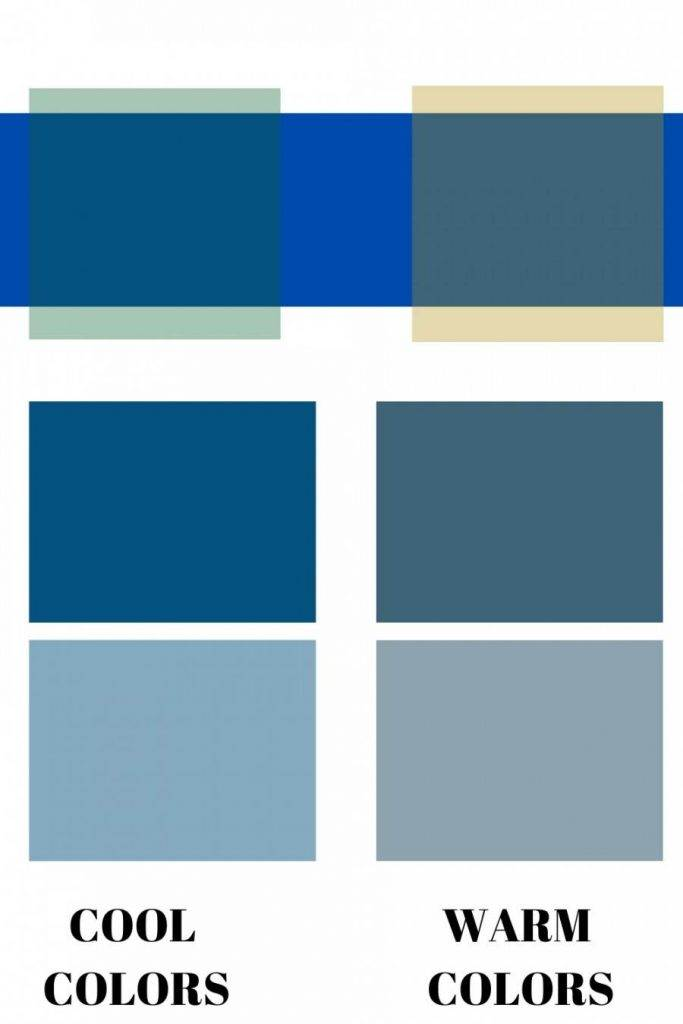 BLUE BLOCKS IN DIFFERENT WARM AND COOL TONES