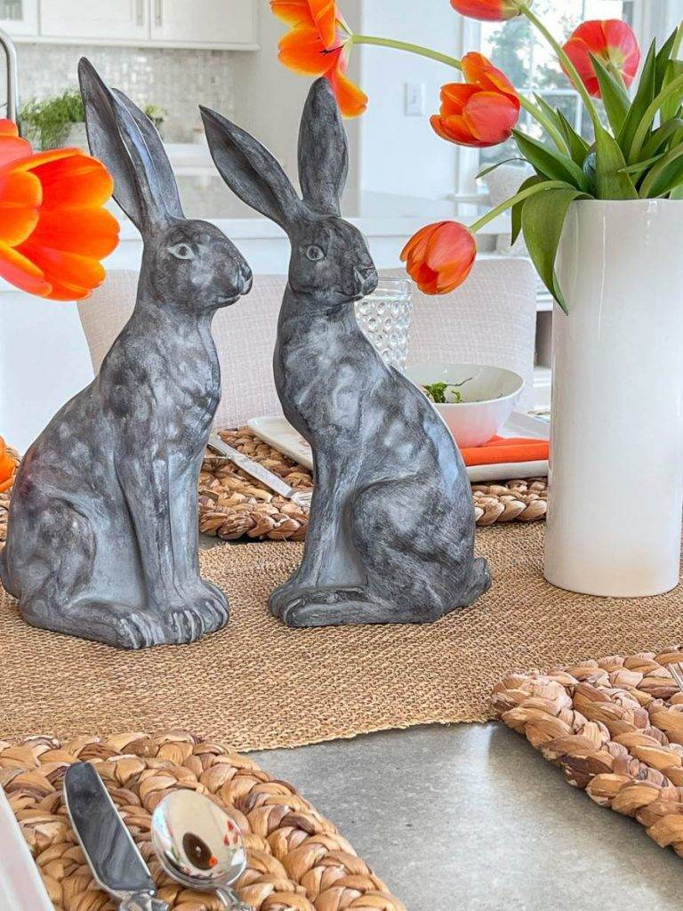 BLACK RABBITS ON AN EASTER TABLE