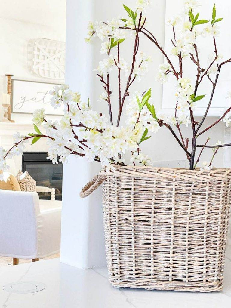 BASKET OF BLOOMING BRANCHES