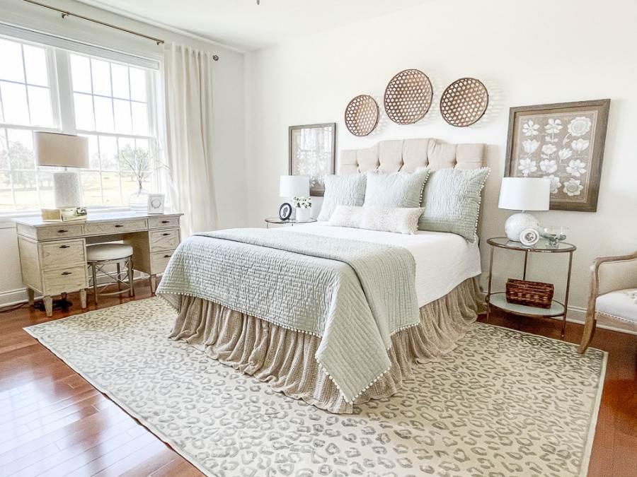 MASTER BEDROOM DONE IN NEUTRALS AND SOFT AQUA