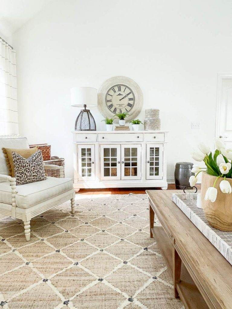 great room with spring decor