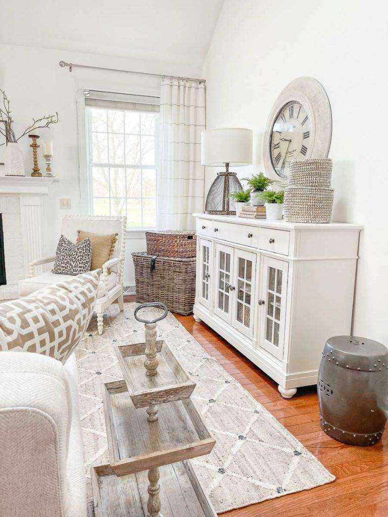 living room with a white buffet