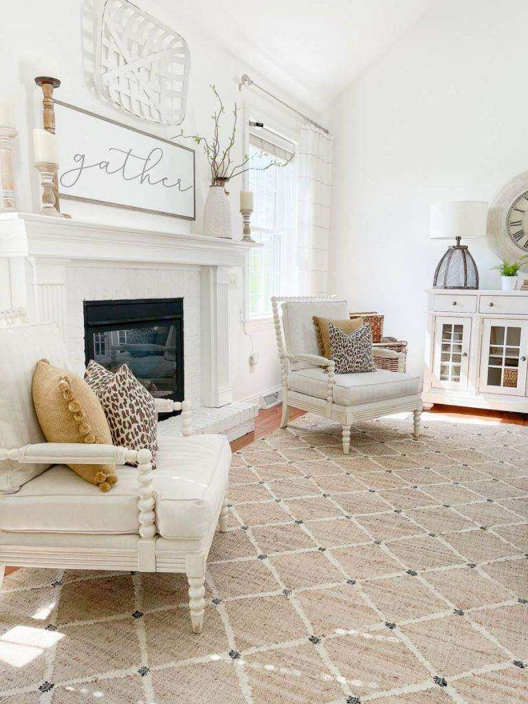 fireplace in a transitional style room