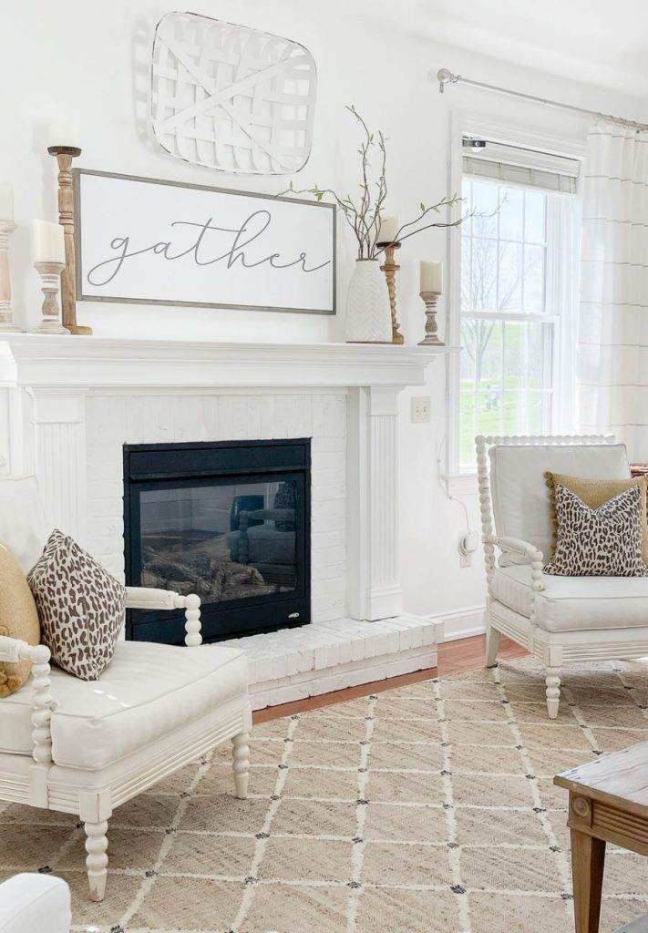 Mantel with spring branches displayed on it
