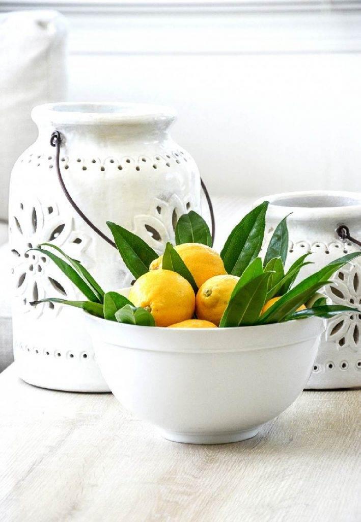 BOWL OF LEMONS IN A WHITE BOWL