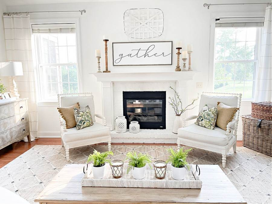 LVING ROOM WITH WHITE WALLS