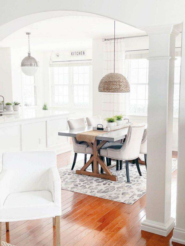WHITE DINING AREA AND WHITE KITCHEN