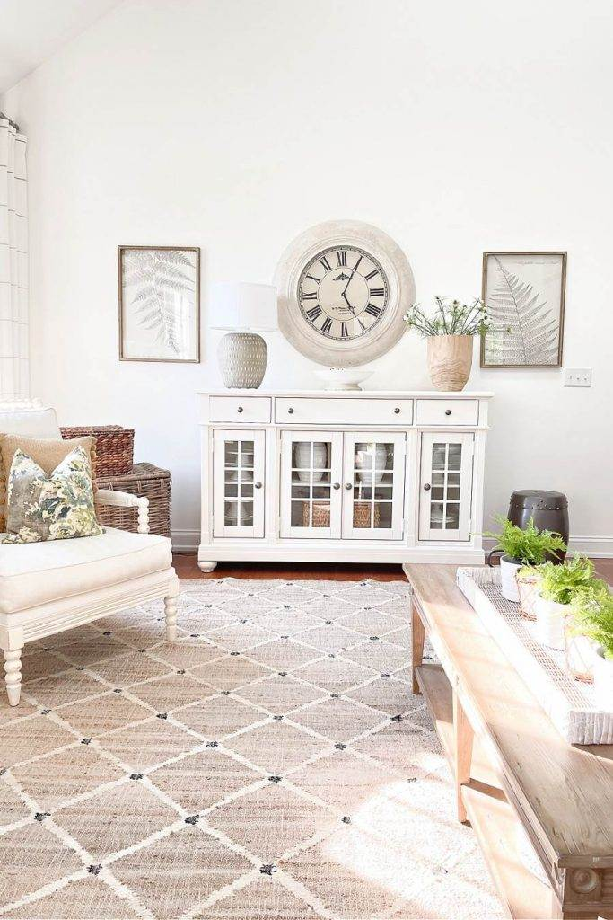 white buffet with mixed decorating styles