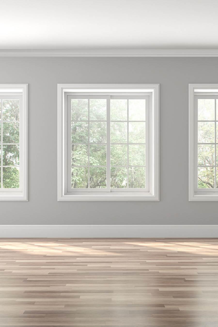 GRAY WALLS AND WHITE WINDOWS