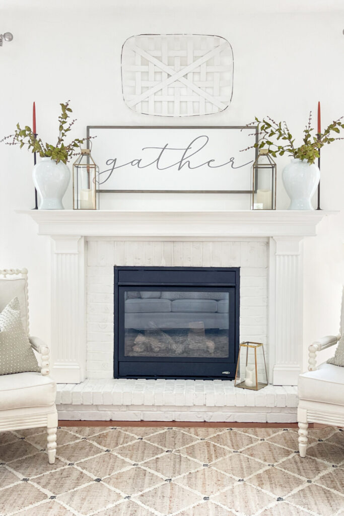 fall mantel with fall decor onit