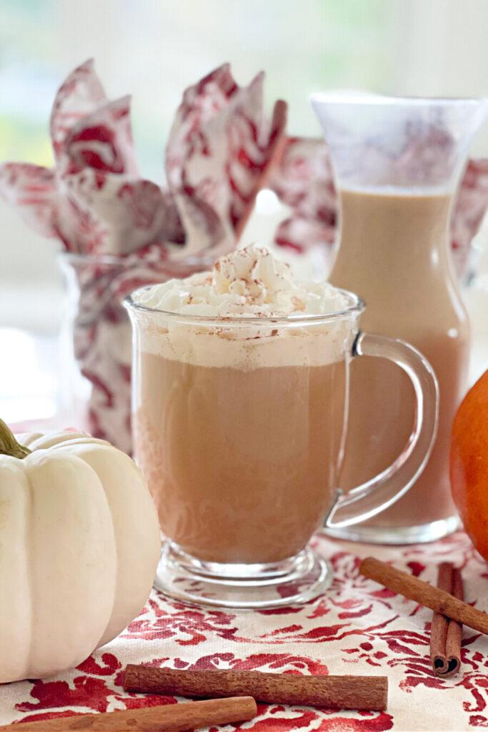 mug of coffee infused with pumpkin spice coffee creamer