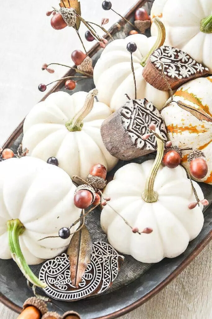 FALL DECORATING IDEAS AND WHITE PUMPKINS
