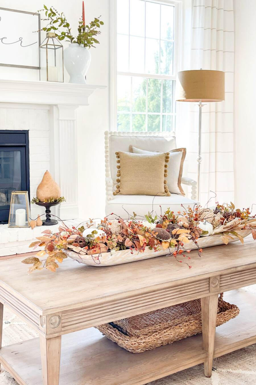 fall dough bowl on a coffee table